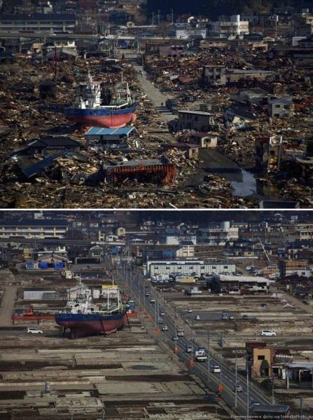 Цунами в Японии 2011: корабль среди города