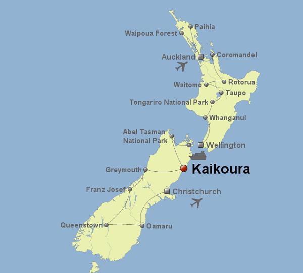 Город Каикоура на карте
