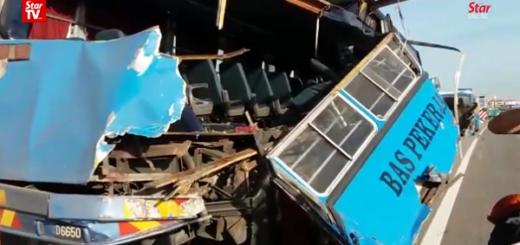 Масштабное столкновение автобусов в Малайзии