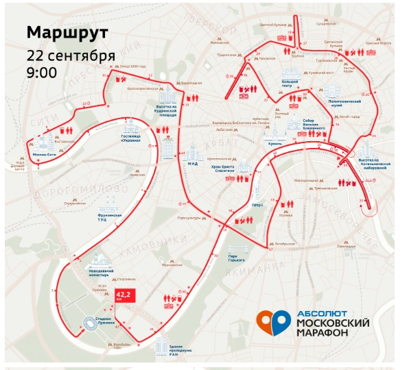 маршрут марафона абсолют москва