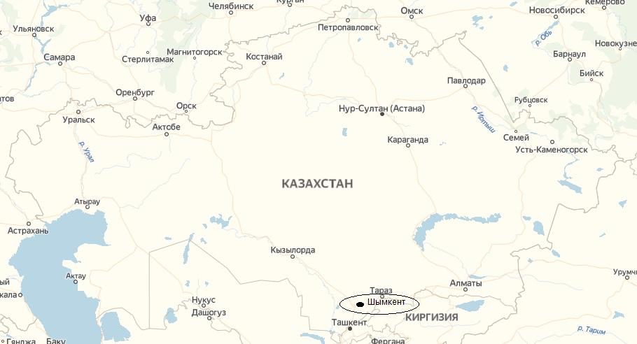 Военная авиакатастрофа в Казахстане под Шымкентом. карта