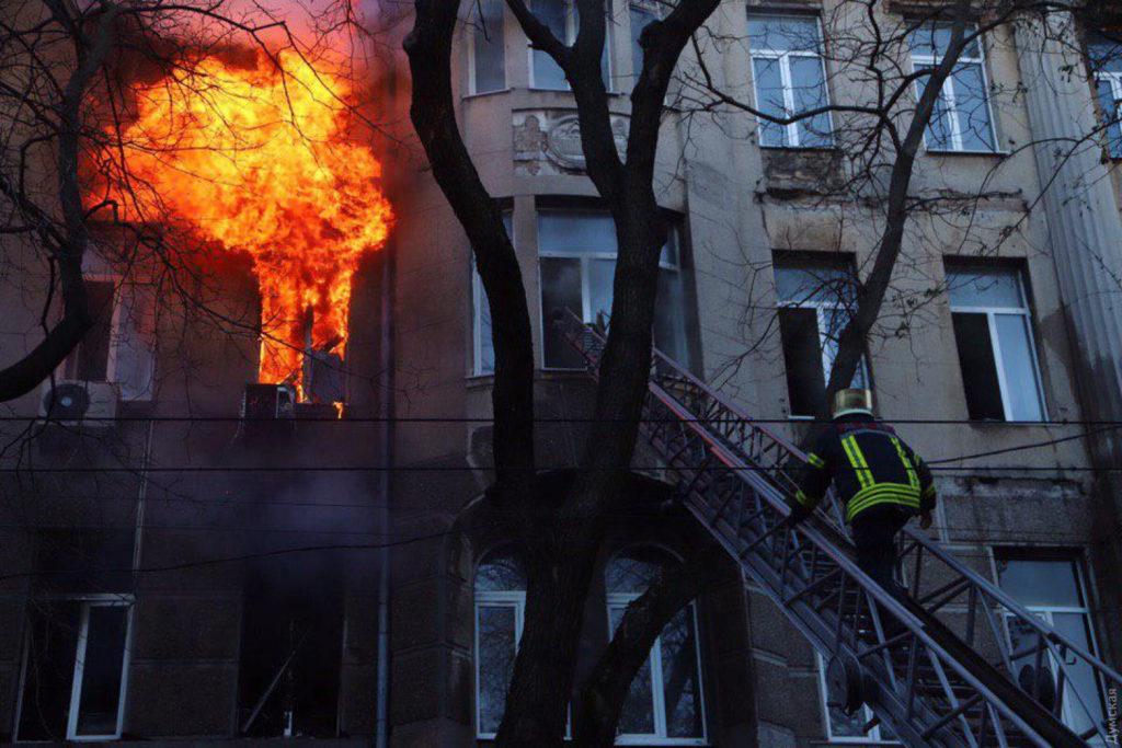 Пожар в одесском колледже 04.12.19