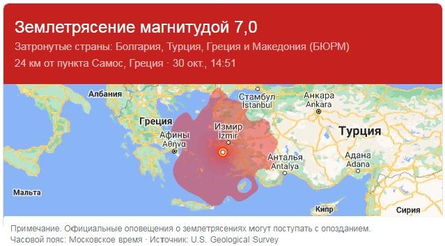 турция землетрясение 2020
